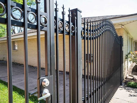 Closer view of security steel gate in commercial area.